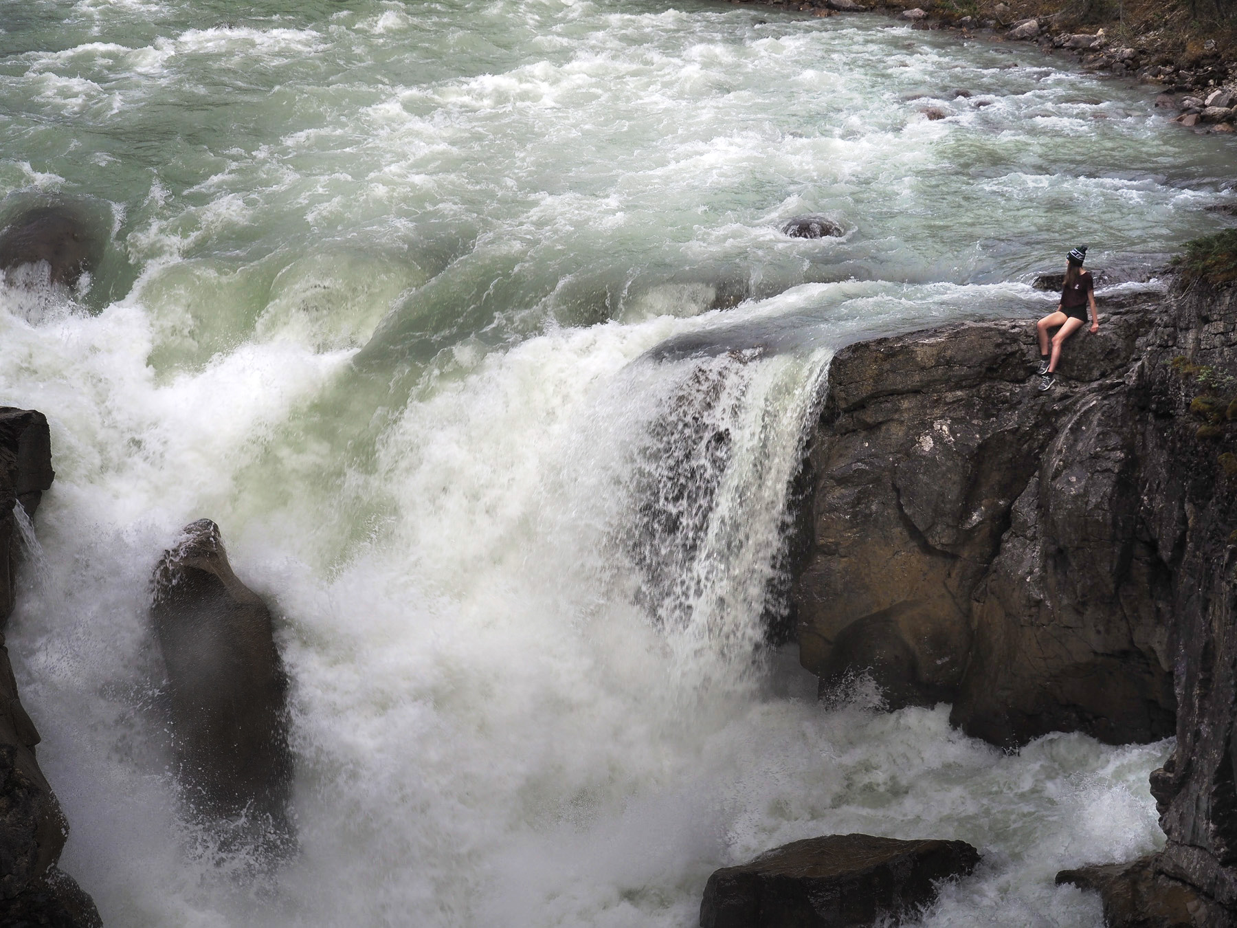 Athabaska Falls mit Fotomodel