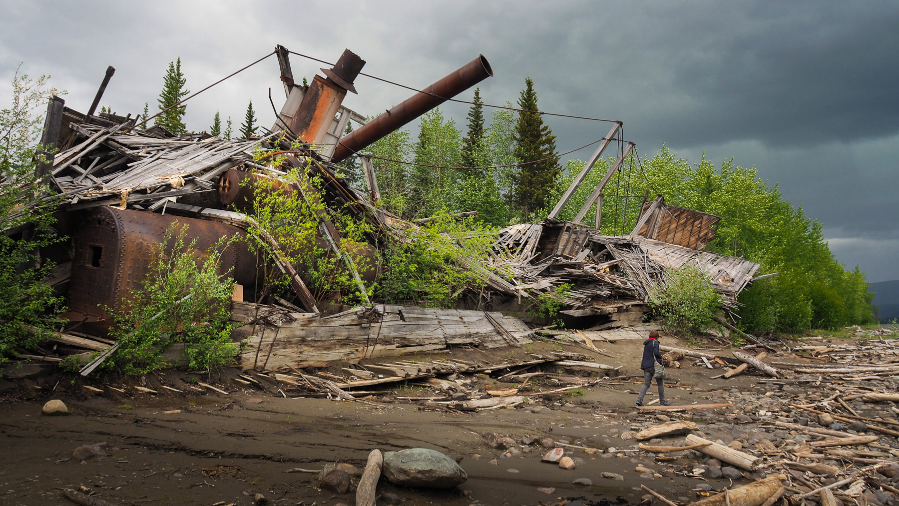 die Reste eines Raddampfers am Yukon