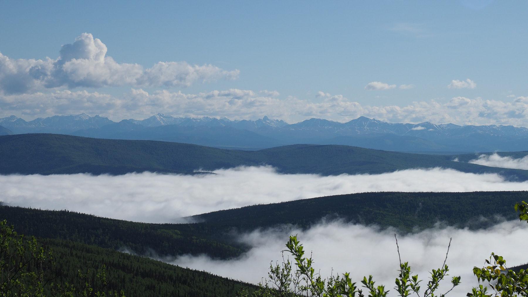 Superwetter auf der Fahrt über den Top of the World Highway nach Alaska