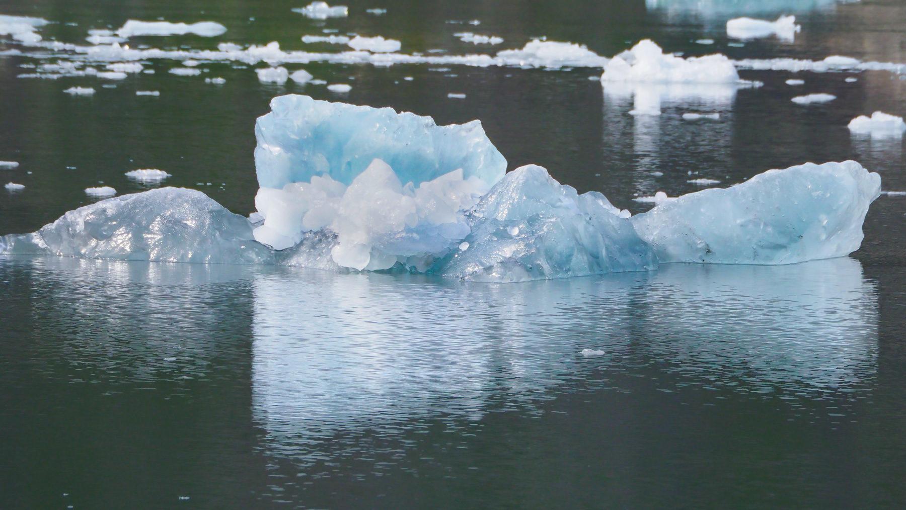 überall schwimmen kleine Eisschollen