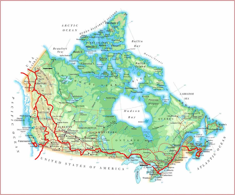 Unsere Route durch Kanada