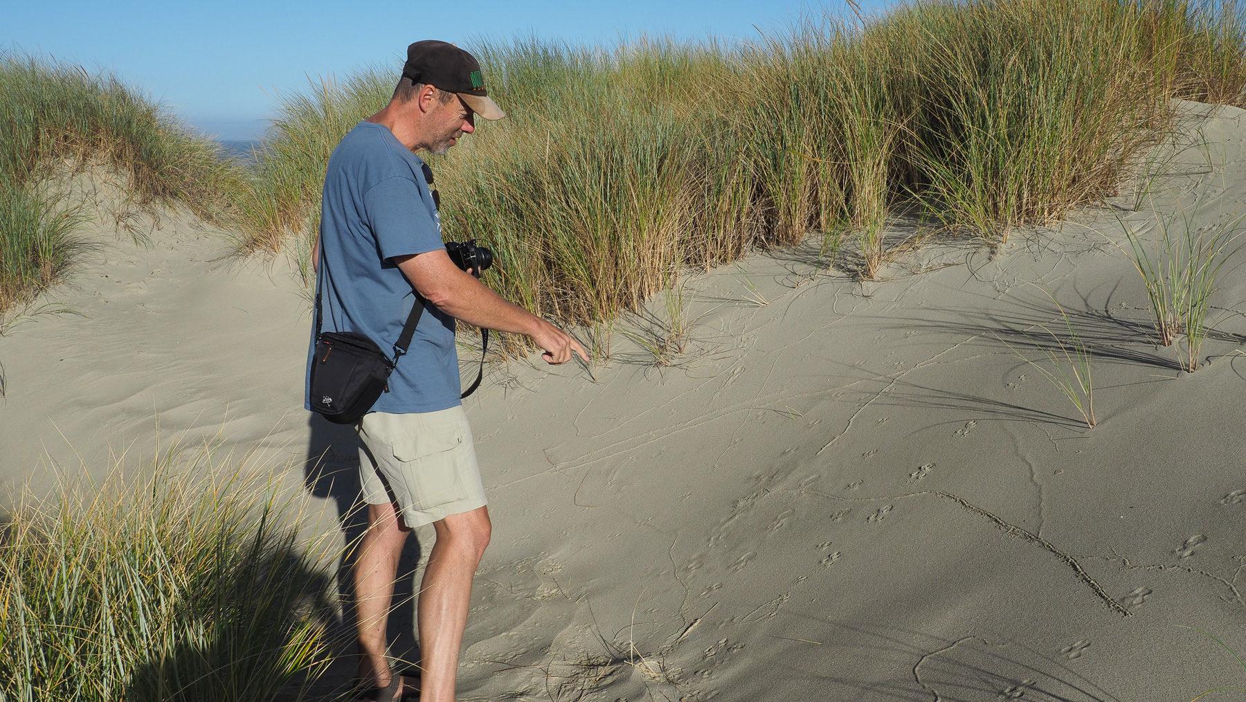 """Oregon Dunes, Georg beim """"Morgenzeitung lesen"""""""
