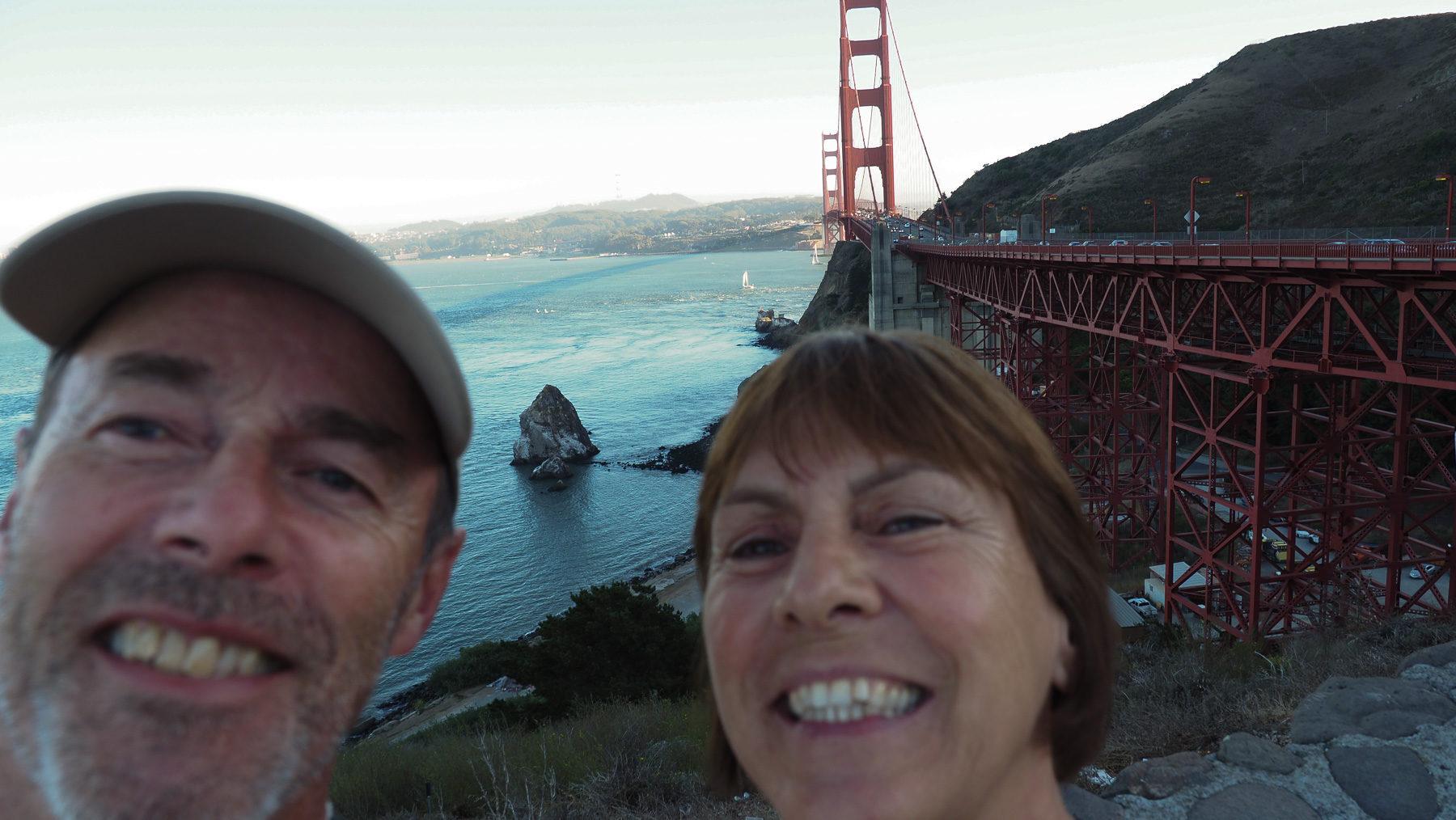 Selfie an der Golden Gate Bridge, mit eher mäßigem Erfolg