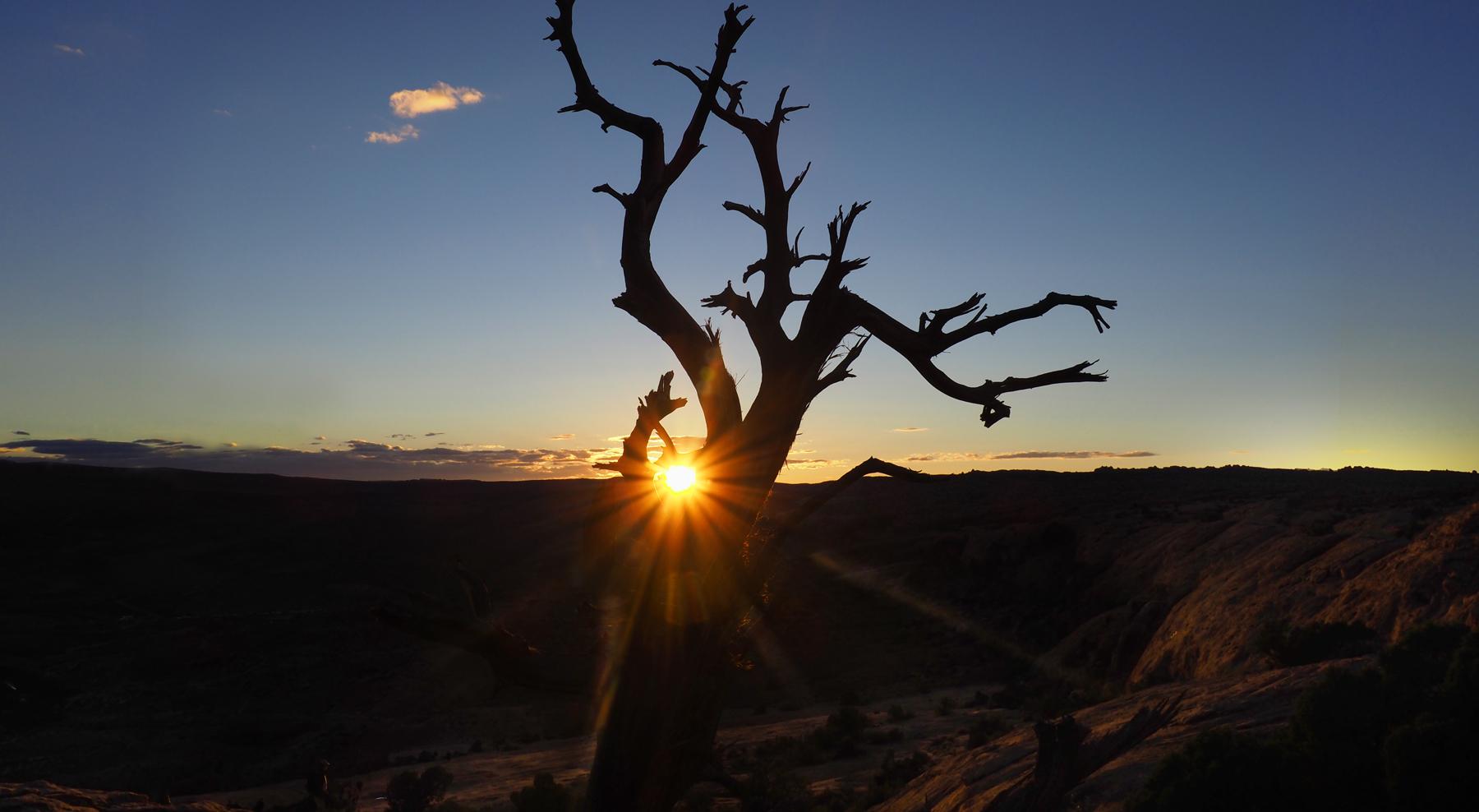 Abstieg vom Delicate Arch mit den letzten Sonnenstrahlen