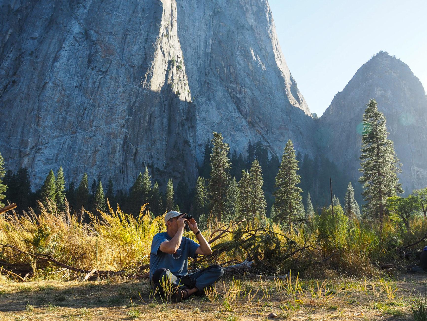 Wir beobachten die Kletterer am El Capitan
