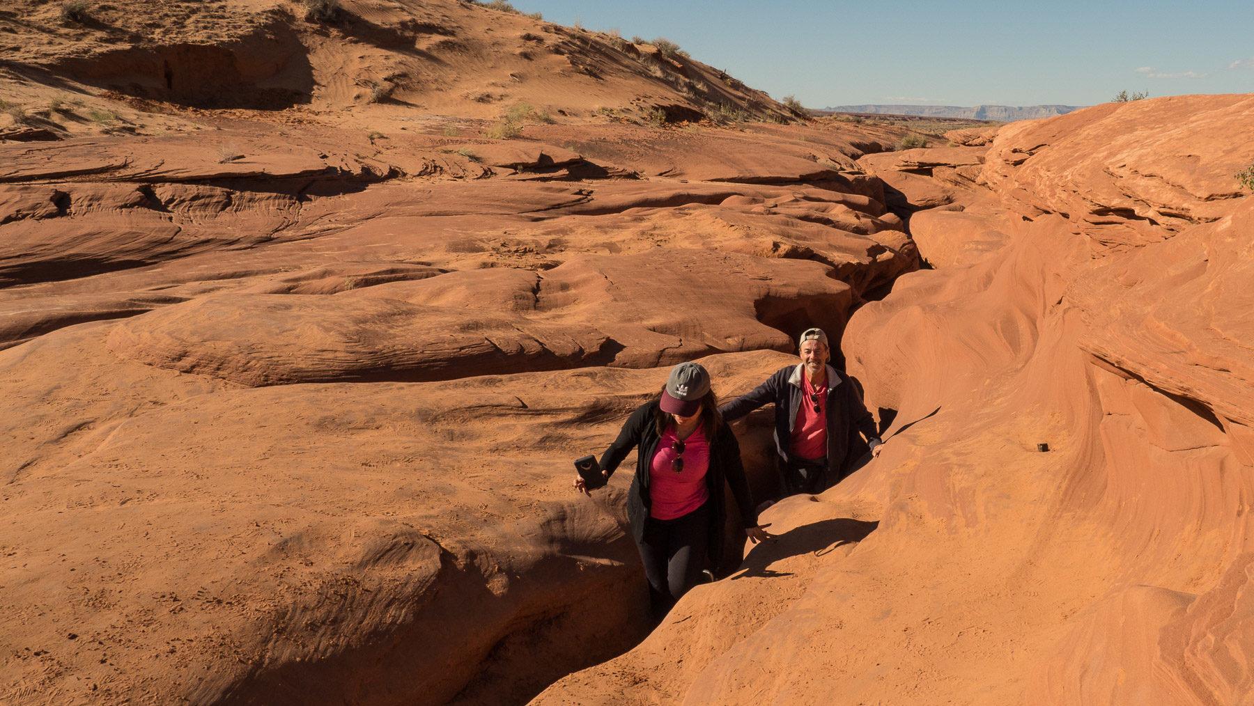 Ausstieg aus dem Slot Canyon – nur ein schmaler Spalt im Fels