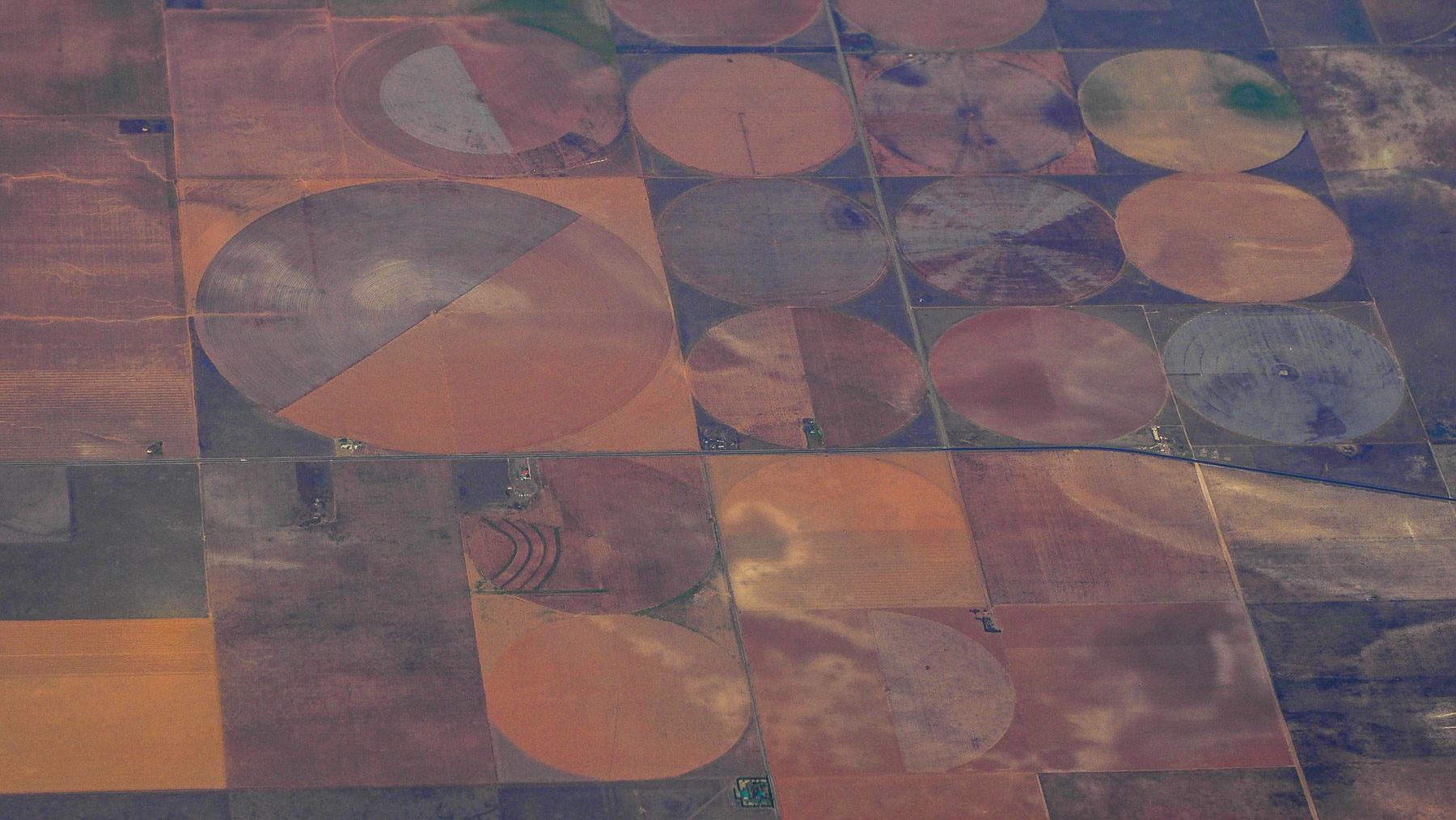 Bewässerte Felder über Texas