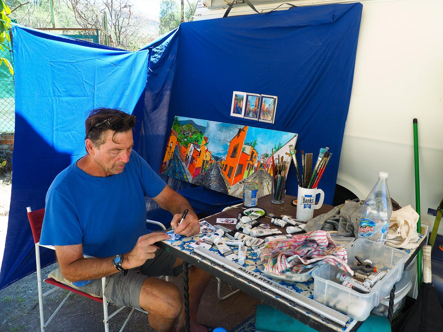 Bob, der Maler, ist unser Nachbar auf dem Campingplatz