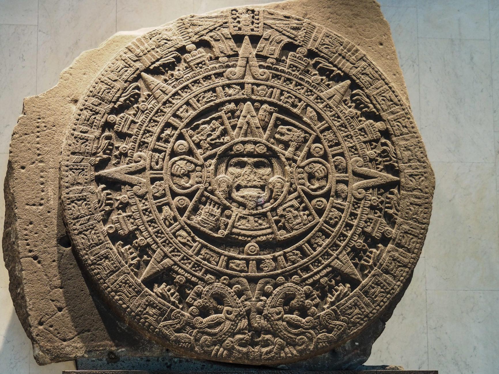 Der berühmte Sonnenstein der Azteken im A. Museum in Mexico City