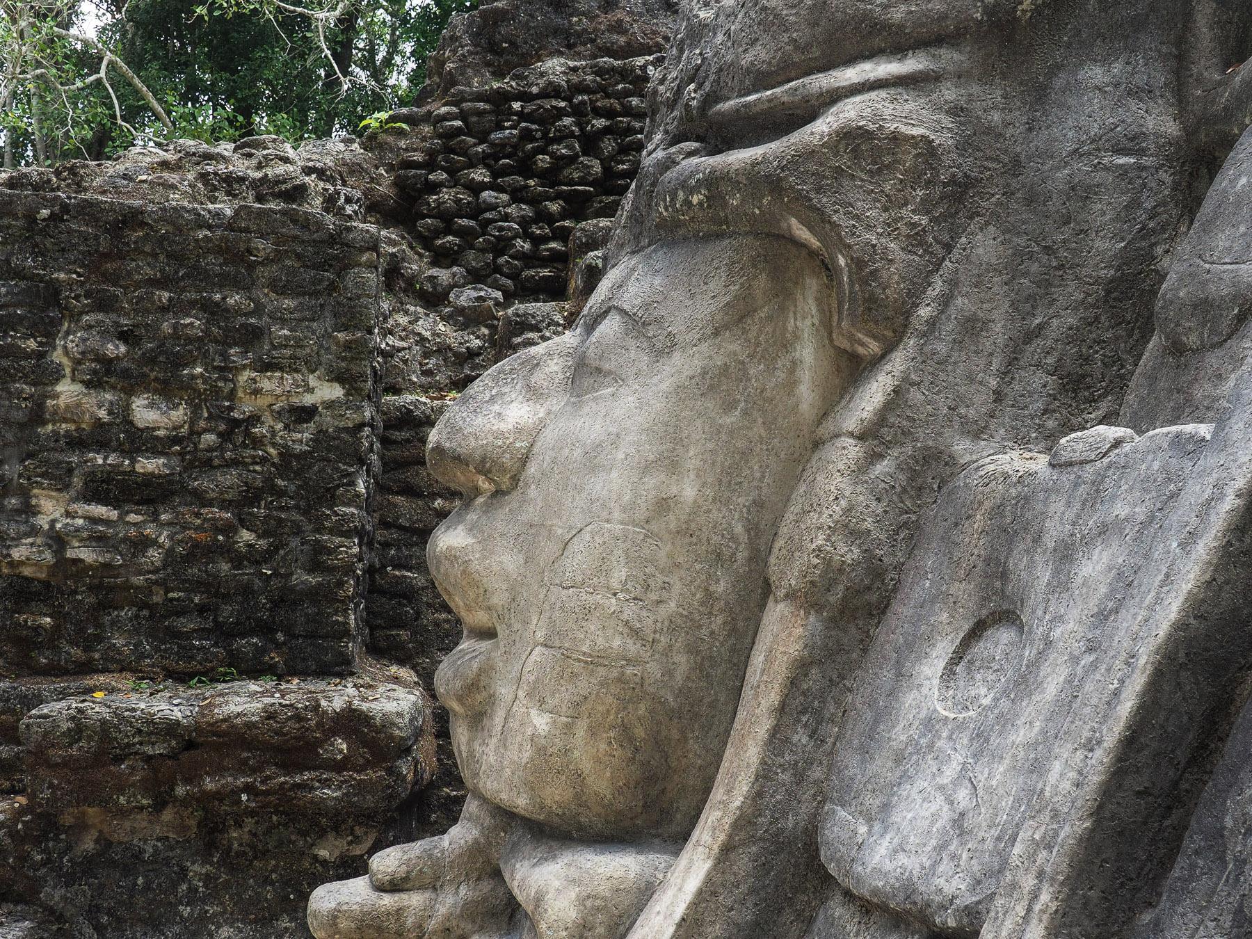 Guterhaltene Steinskulpturen in Lamanai