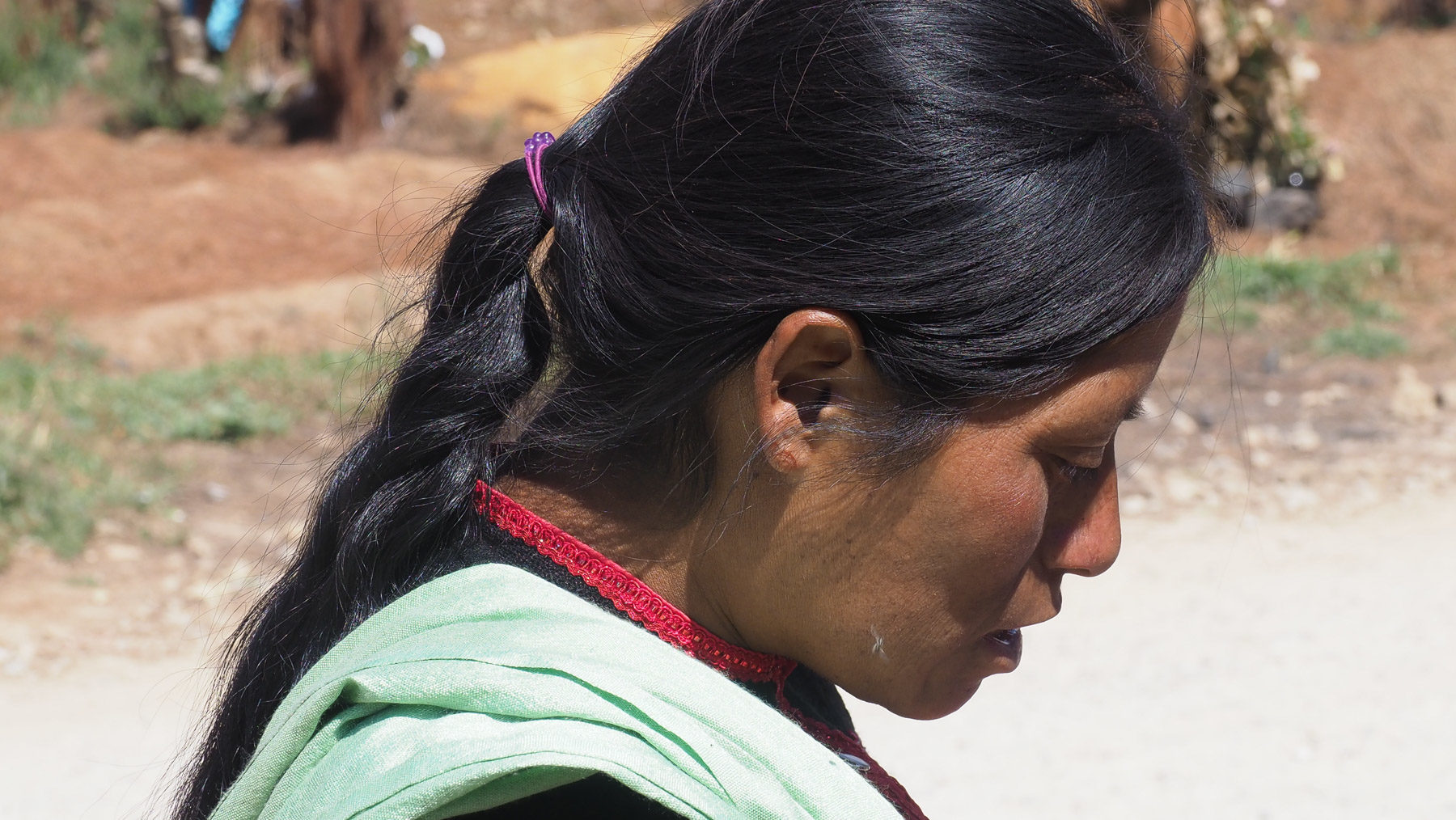 Indigene Frau auf dem Weg zum Markt