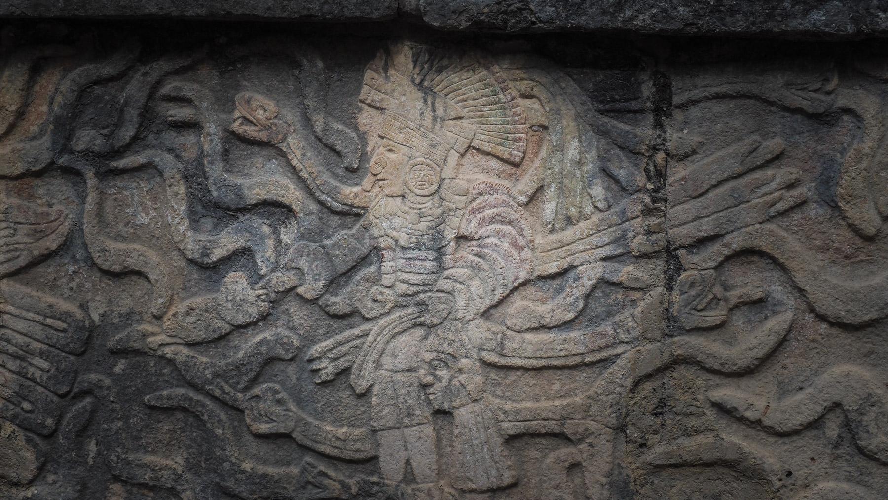 Einer der Götter/Herrscher in Chichen Itza