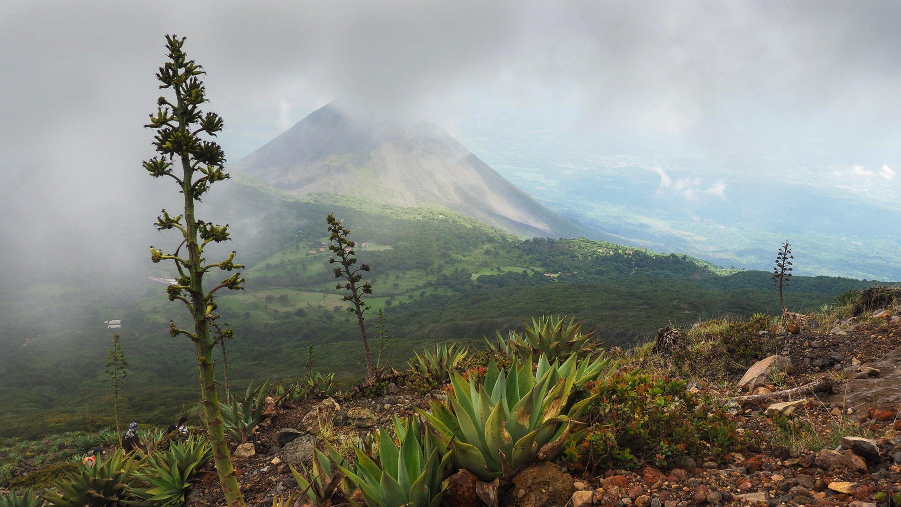 Nebelschwaden ziehen um den Vulkan