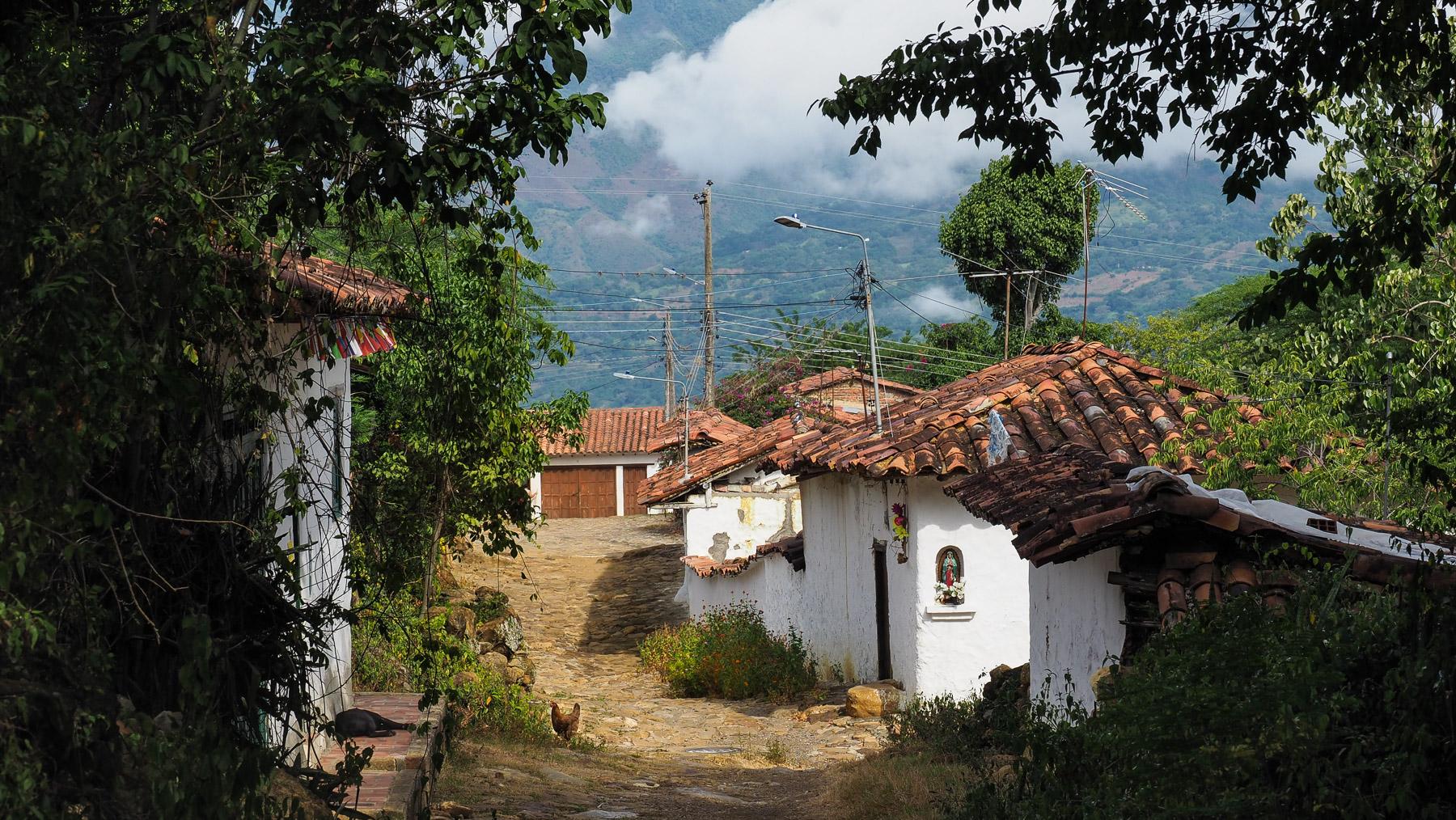 Kolumbianische Dorfidylle mit Hund und Huhn