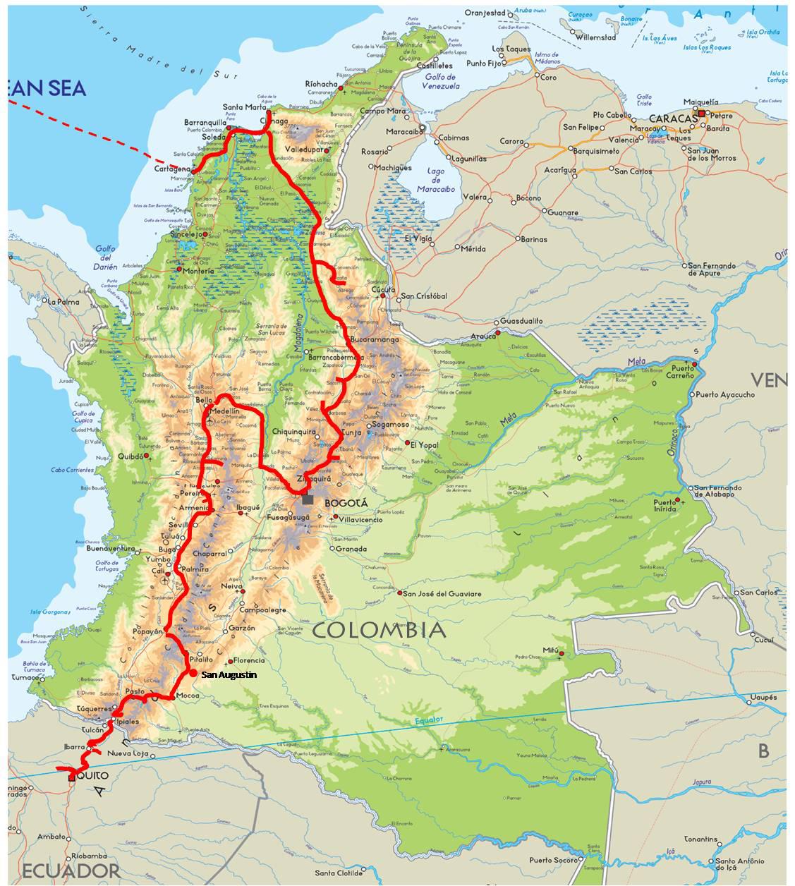 Reiseroute Kolumbien