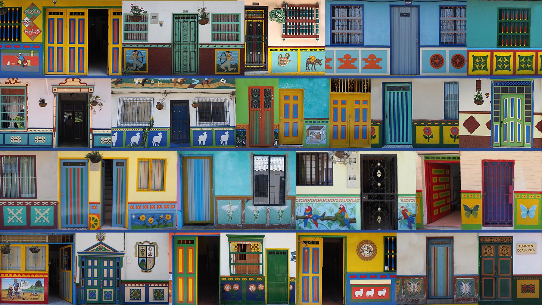 Wimmelbild – lauter individuelle, liebevoll bemalte Häuserfronten in Guatape