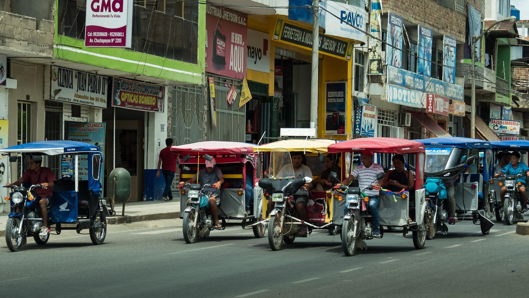 In den Orten bestimmen diese Dreiräder das Straßenbild