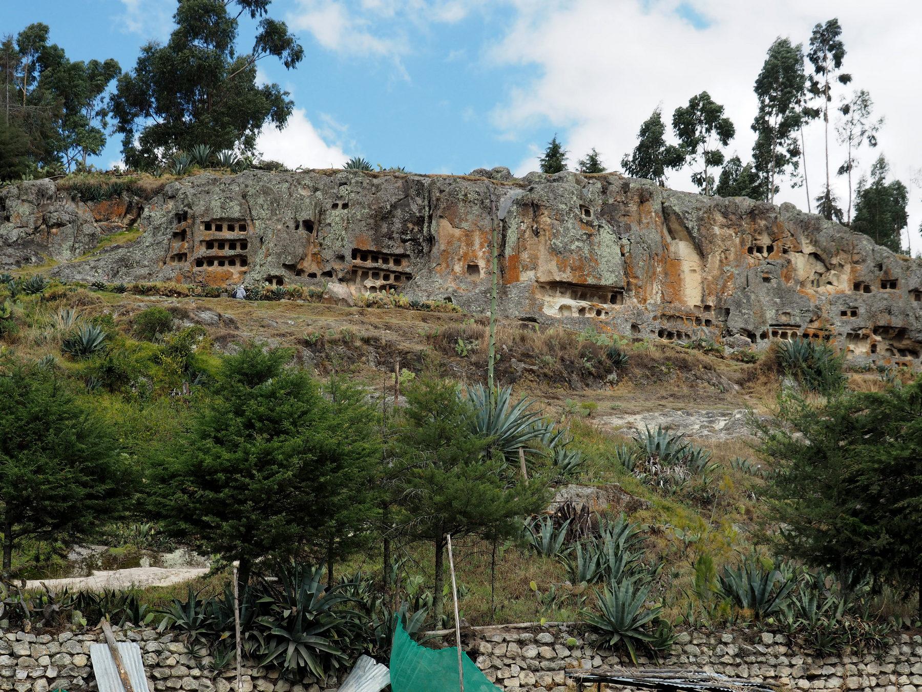 Durchlöcherte Felswand