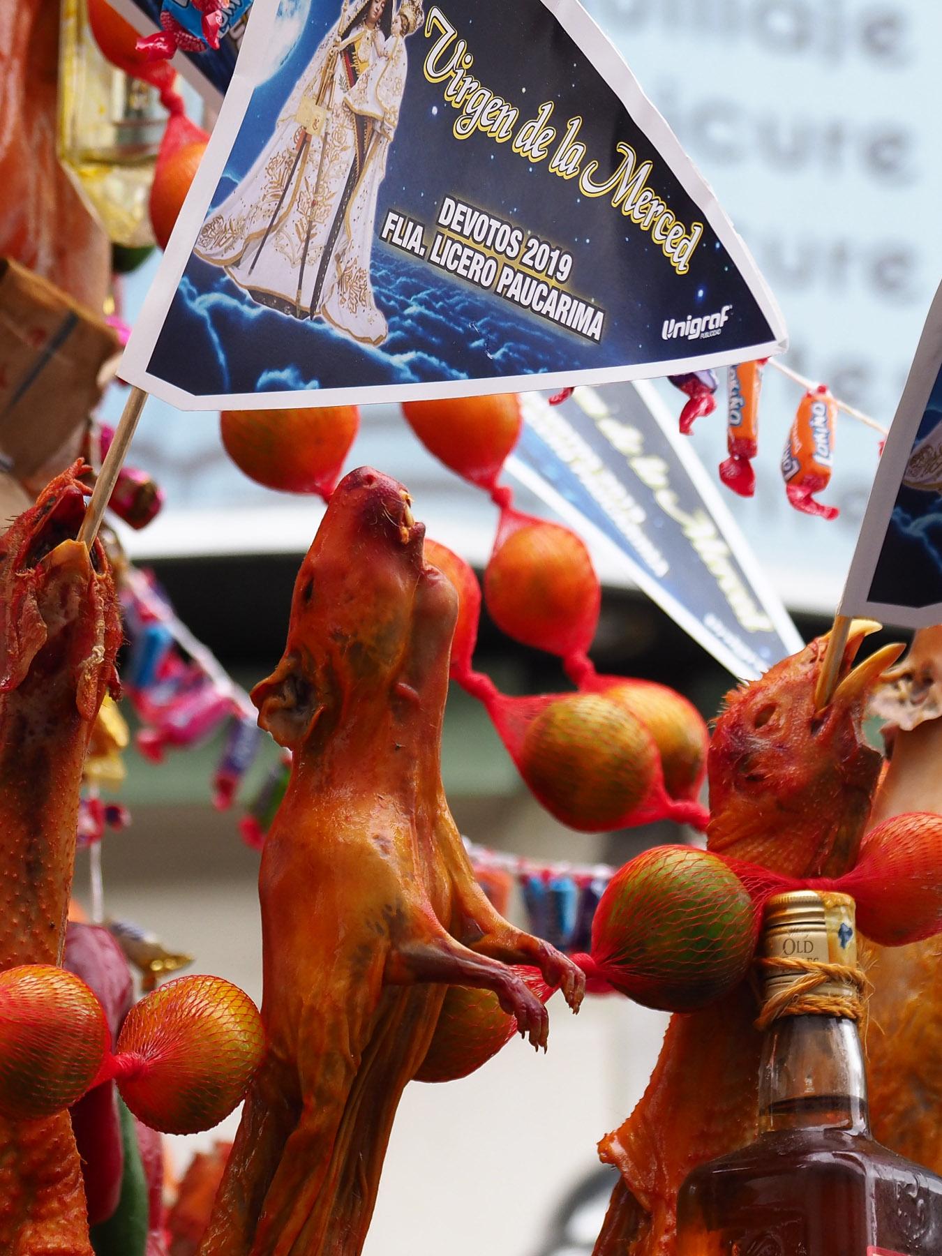 Garnitur aus Meerschweinchen und Geflügel für die Virgen de la Merced