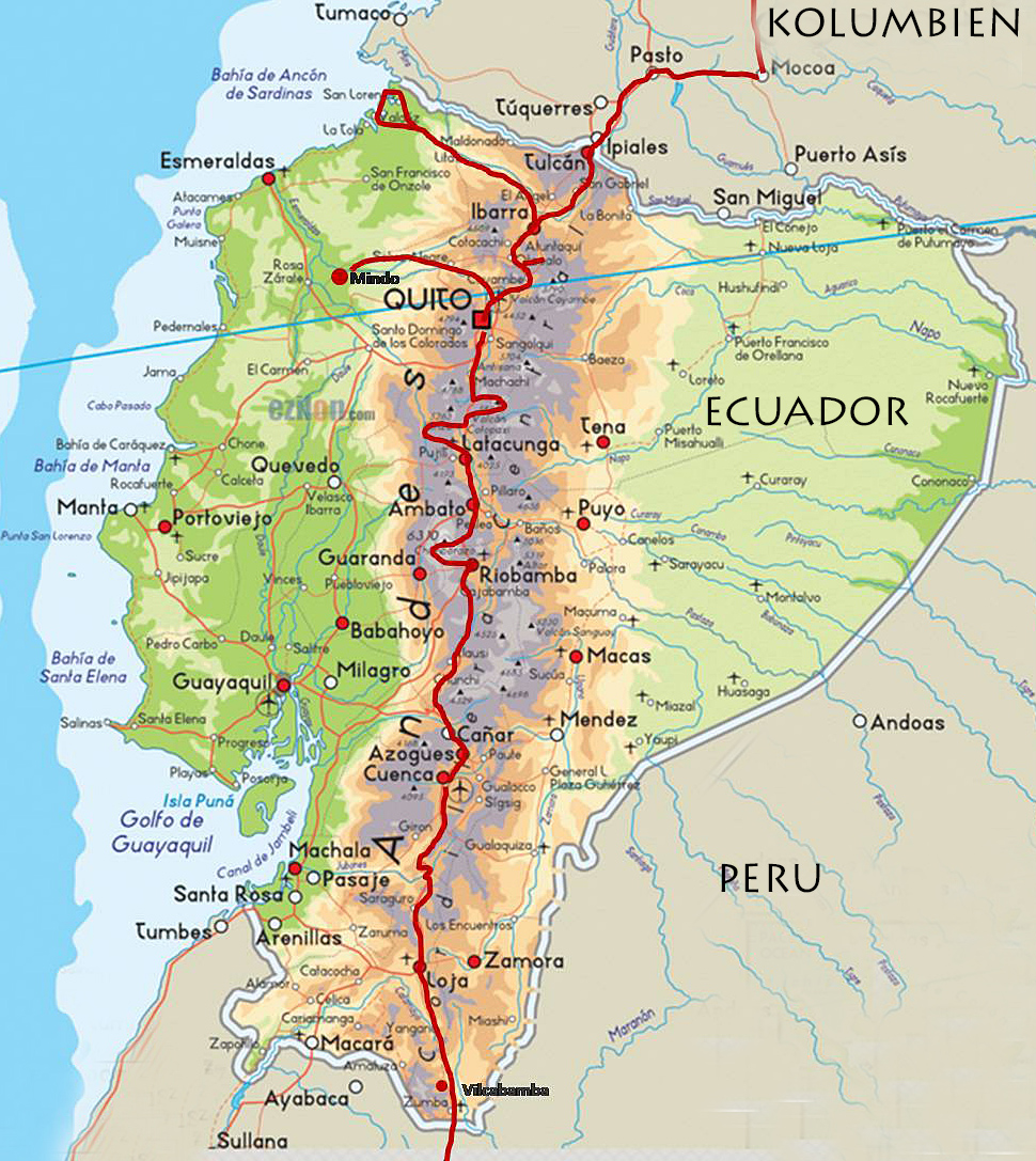 Reiseroute Ecuador