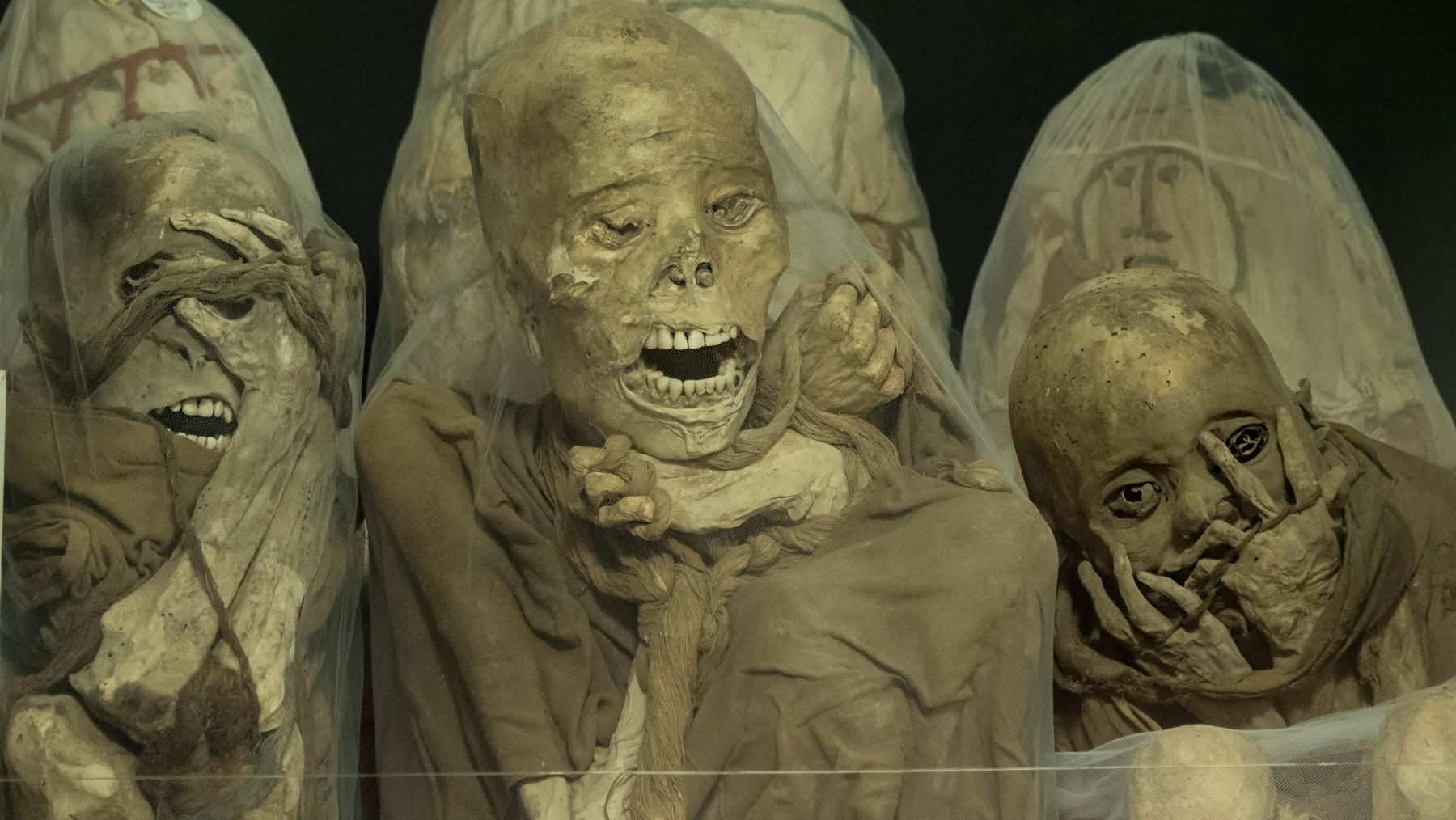 200 Mumien aus den Felsgräbern im Museum in Leymebamba