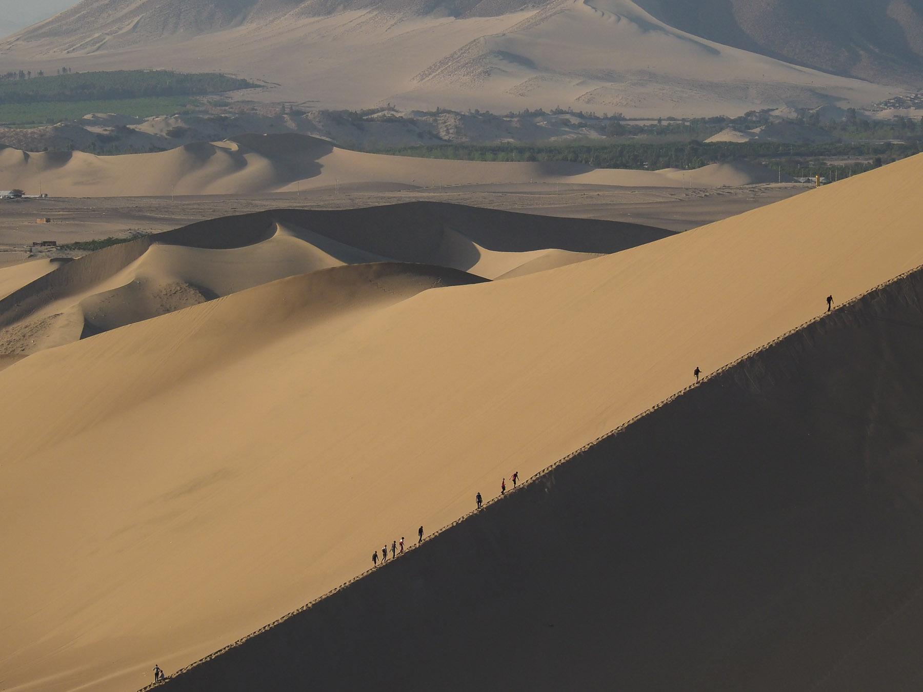 Die Karawane zieht zum Sonnenuntergang auf  Düne