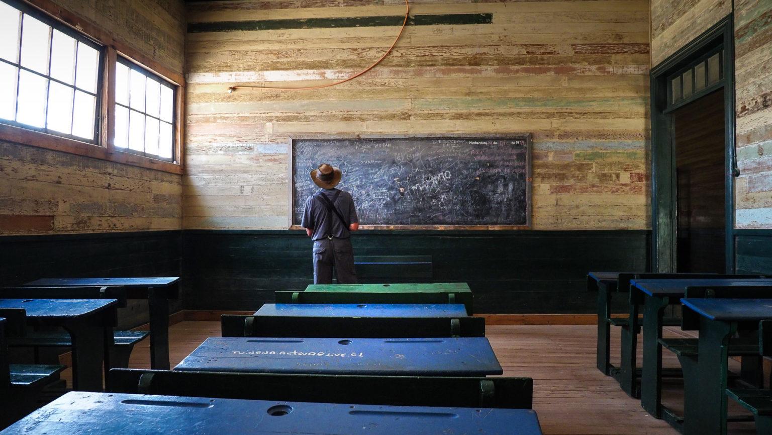 Schulhaus in der verlassenen Salpetermine Humberstone