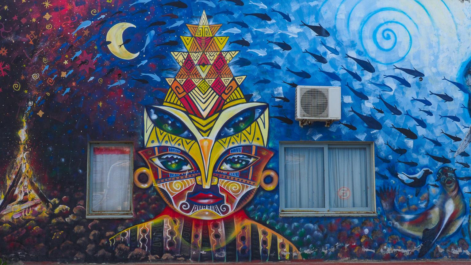 Graffiti eines Medizinmanns der Urbevölkerung