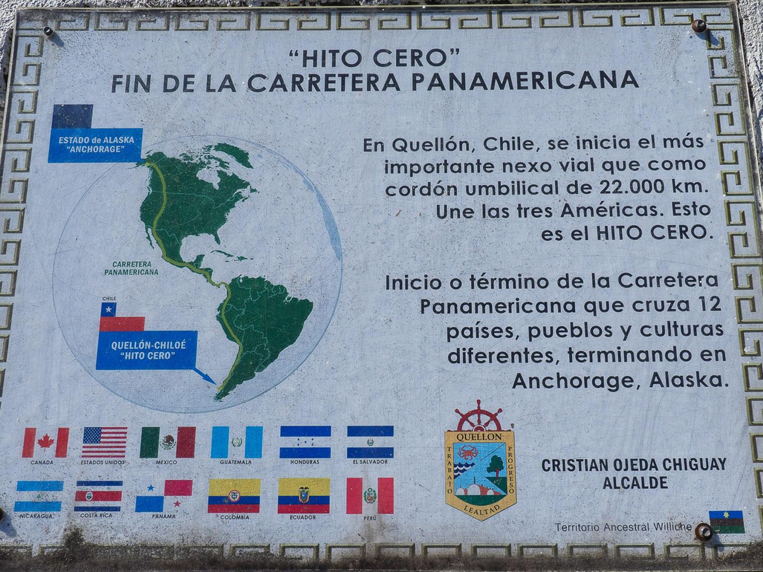 Auf Chiloe ist offiziell der Kilometer 0 der Panamericana
